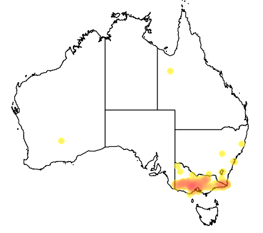 distribution map showing range of Acacia aculeatissima in Australia