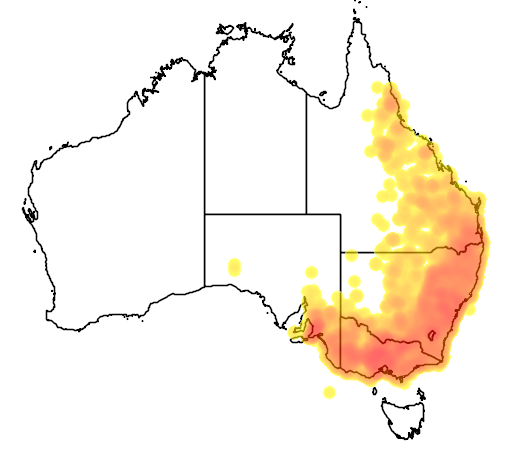distribution map showing range of Acanthiza reguloides in Australia