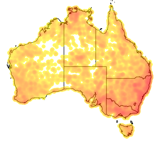 distribution map showing range of Aegotheles cristatus in Australia