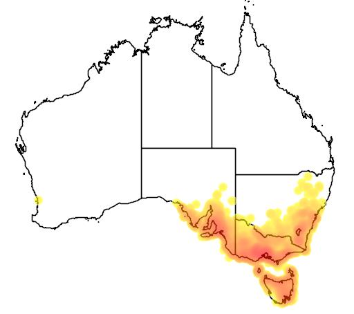 distribution map showing range of Alauda arvensis in Australia