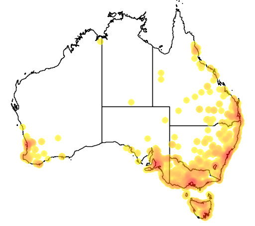 distribution map showing range of Anas platyrhynchos in Australia