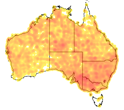 distribution map showing range of Artamus personatus in Australia