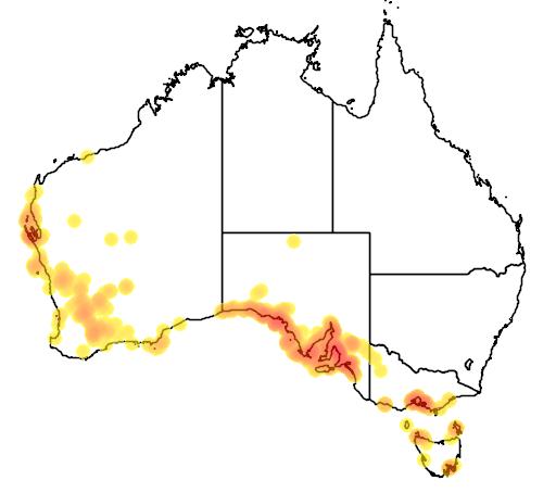 distribution map showing range of Atriplex paludosa in Australia