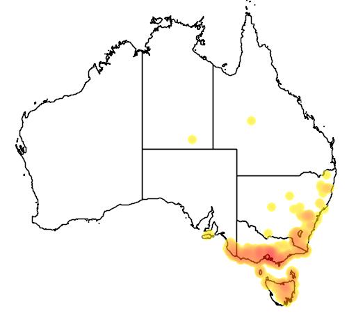 distribution map showing range of Austrelaps superbus in Australia