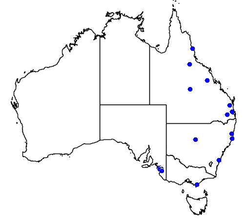 distribution map showing range of Axis axis in Australia