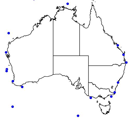 distribution map showing range of Balaenoptera borealis in Australia