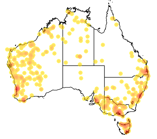 distribution map showing range of Cacatua roseicapilla in Australia