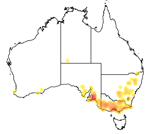 distribution map showing range of Caladenia tentaculata in Australia