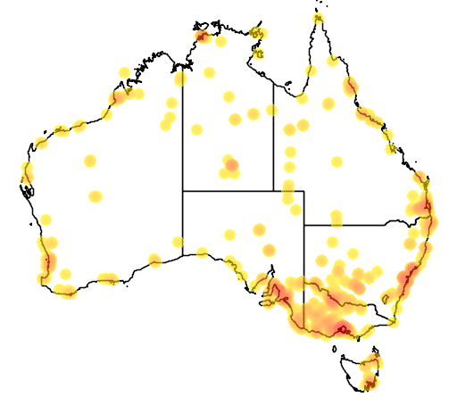 distribution map showing range of Calidris melanotos in Australia