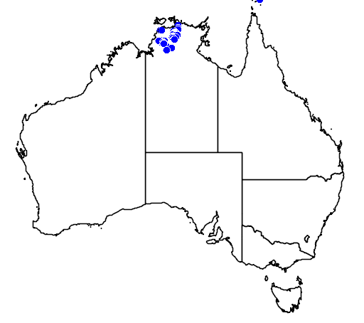 distribution map showing range of Carettochelys insculpta in Australia