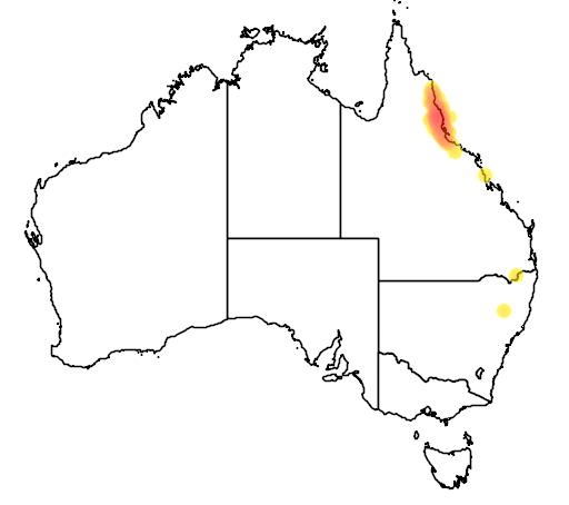 distribution map showing range of Carlia rubrigularis in Australia