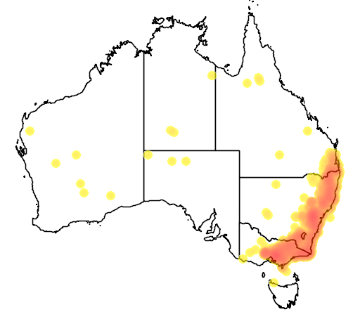 distribution map showing range of Climacteris erythrops in Australia