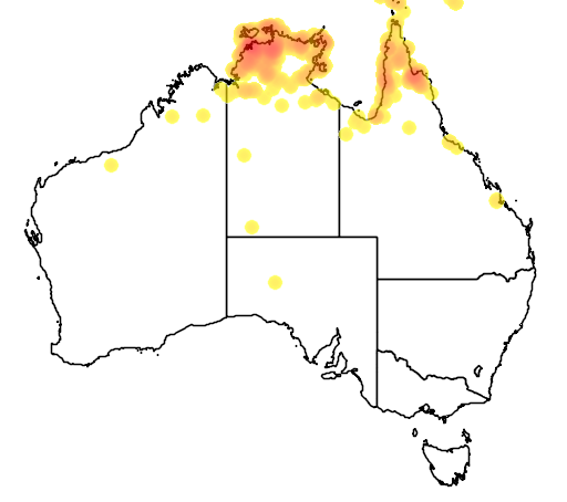 distribution map showing range of Conopophila albogularis in Australia