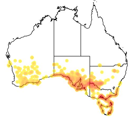 distribution map showing range of Disphyma crassifolium in Australia