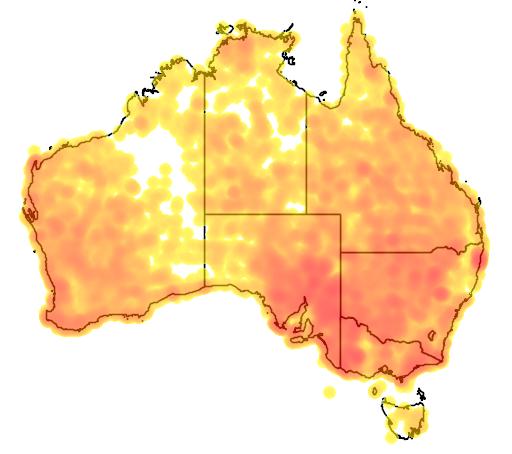 distribution map showing range of Dromaius novaehollandiae in Australia