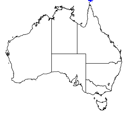 distribution map showing range of Ducula mullerii in Australia