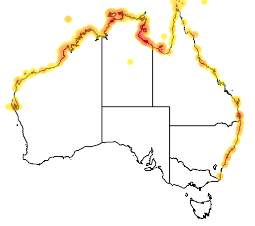 distribution map showing range of Dugong Dugon in Australia