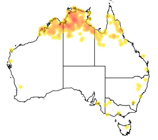 distribution map showing range of Erythrura gouldiae in Australia