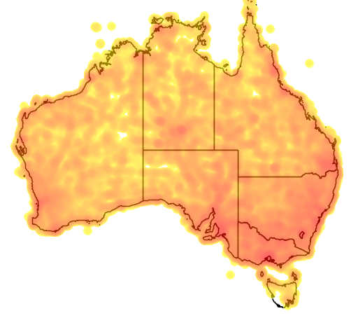 distribution map showing range of Falco cenchroides in Australia