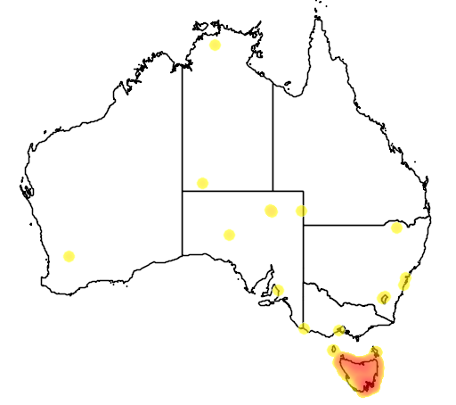 distribution map showing range of Gallinula mortierii in Australia