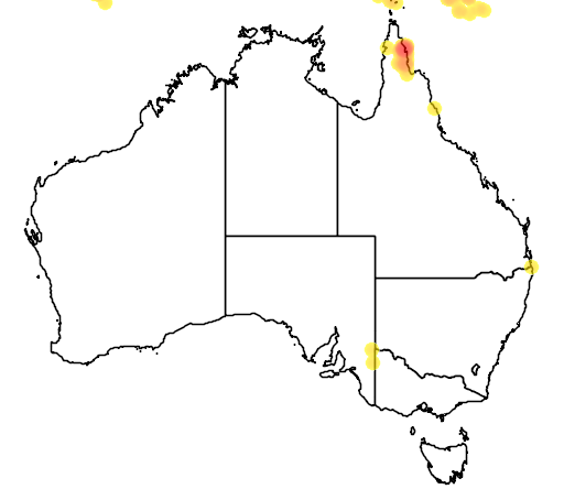 distribution map showing range of Geoffroyus geoffroyi in Australia