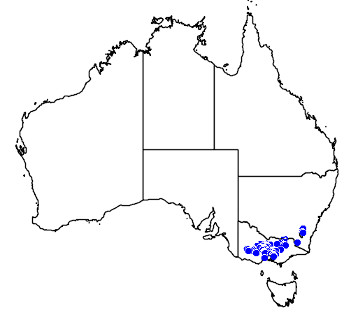 distribution map showing range of Grevillea alpina in Australia
