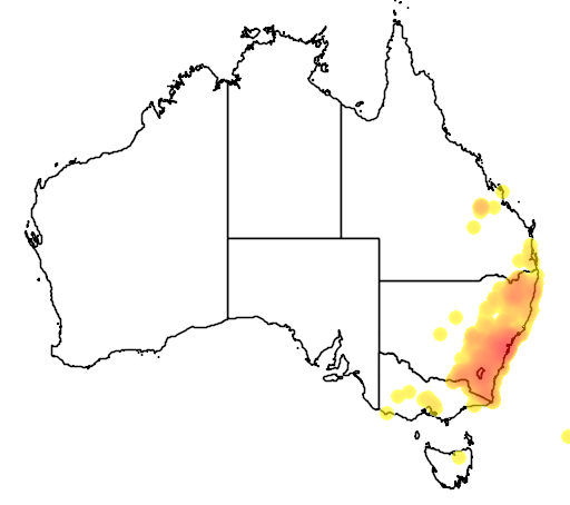 distribution map showing range of Hovea linearis in Australia