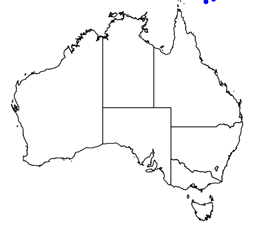 distribution map showing range of Leiopython albertisii in Australia