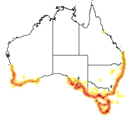 distribution map showing range of Leucopogon parviflorus in Australia