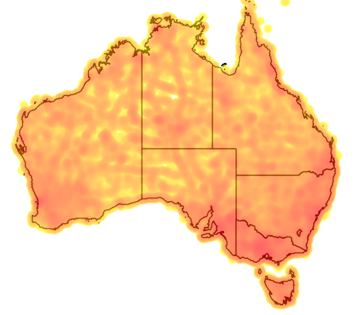 distribution map showing range of Lichenostomus chrysops in Australia