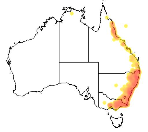 distribution map showing range of Litoria lesueuri in Australia