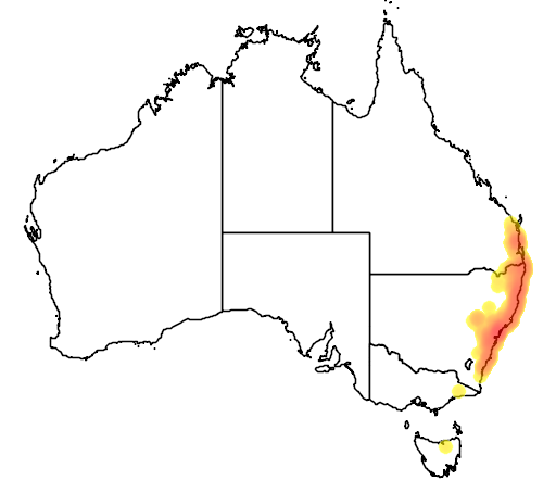 distribution map showing range of Litoria tyleri in Australia