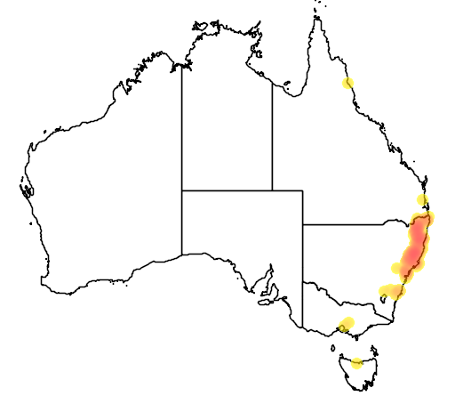 distribution map showing range of Macropus parma in Australia