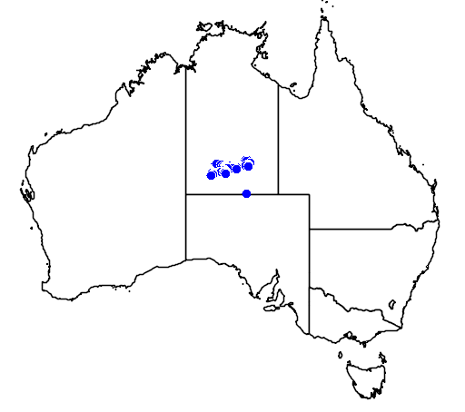 distribution map showing range of Macrozamia macdonnellii in Australia