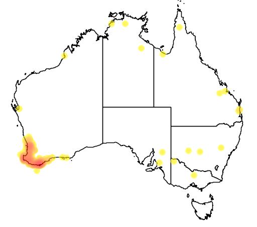 distribution map showing range of Malurus elegans in Australia