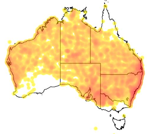 distribution map showing range of Malurus lamberti in Australia