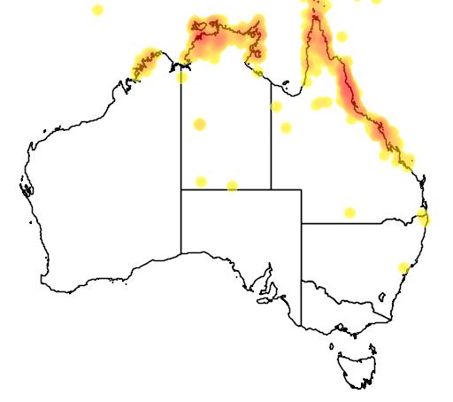 distribution map showing range of Megapodius reinwardt in Australia