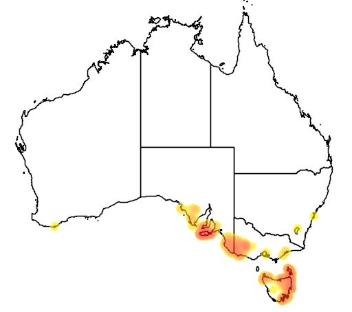 distribution map showing range of Melaleuca gibbosa in Australia