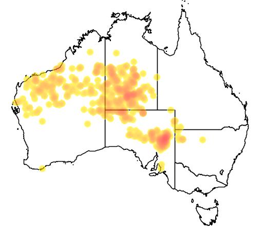 distribution map showing range of Melaleuca glomerata in Australia