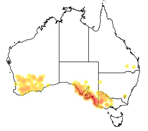 distribution map showing range of Melaleuca halmaturorum in Australia