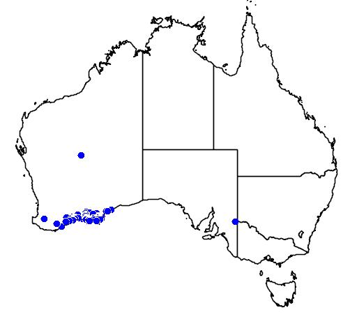 distribution map showing range of Melaleuca pulchella in Australia