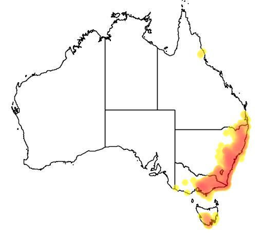 distribution map showing range of Menura novaehollandiae in Australia