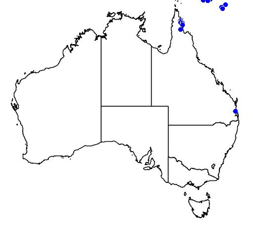 distribution map showing range of Morelia viridis in Australia