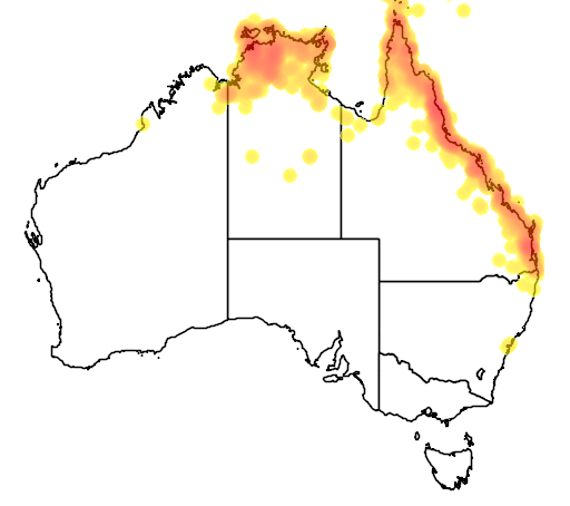 distribution map showing range of Myzomela obscura in Australia