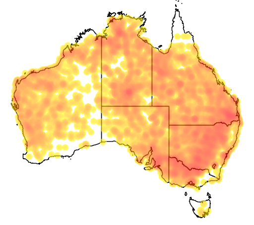 distribution map showing range of Nymphicus hollandicus in Australia