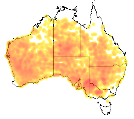 distribution map showing range of Oreoica gutturalis in Australia