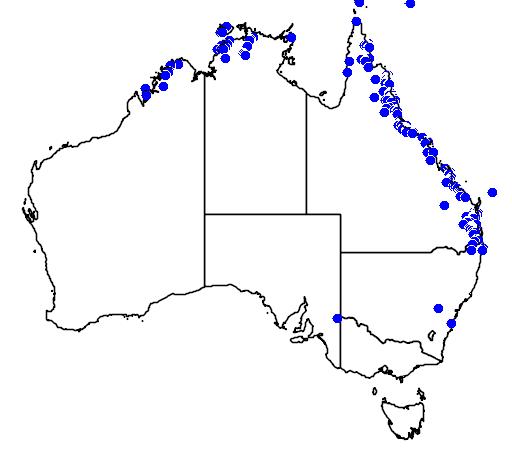 distribution map showing range of Oxyuranus scutellatus in Australia