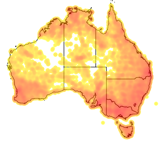 distribution map showing range of Pardalotus striatus in Australia