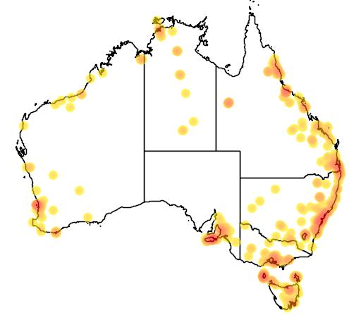 distribution map showing range of Pavo cristatus in Australia