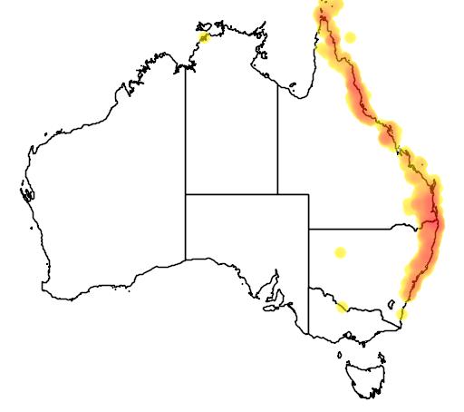 distribution map showing range of Pitta versicolor in Australia